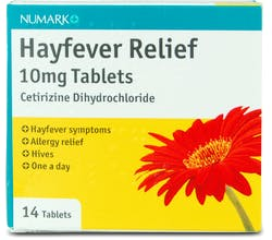 Numark Hayfever Relief Cetirizine 10mg 14 Tablets