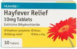 Numark Hayfever Relief Cetirizine 10mg 30 Tablets