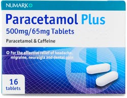 Numark Paracetamol Plus 500mg with Caffeine 16 Tablets