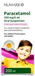 Numark Paracetamol Suspension 250mg/5ml Ages 6+ 200ml