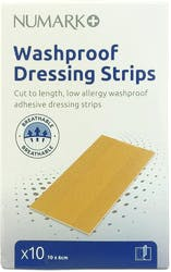 Numark Washproof Dressing Strips 10 x 6cm 10s