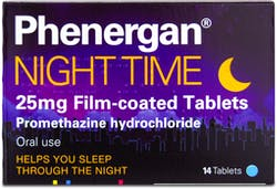 Phenergan Night Time 25mg 14 tablets