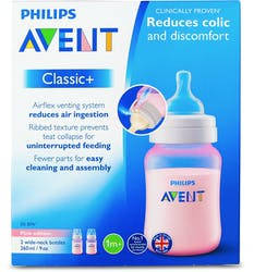 Philips Avent Classic+ Bottle Pink 260ml 2Pk