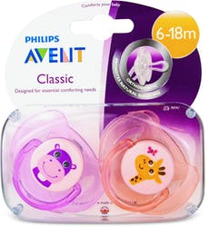 Philips Avent Classic Soothers Hippo & Giraffe 6-18m 2pcs