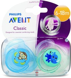Philips Avent Classic Soothers Monkey & Rhino 6-18m 2pcs