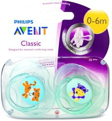 Philips Avent Classic Soothers Tiger & Hippo 0-6m 2pcs