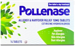 Pollenase Allergy and Hayfever Relief Cetirizine 10mg 14 Tablets