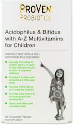 Proven Probiotics Lactobacillus & Bifidus A-Z Multivits Child 30 Tablets