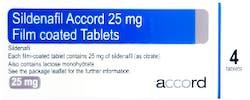 Sildenafil Accord 25mg (PGD) 4 Tablets