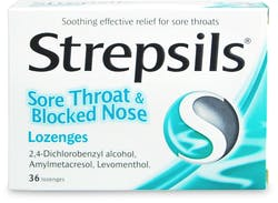 Strepsils Sore Throat and Blocked Nose 36 Lozenges