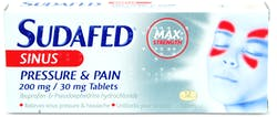Sudafed Sinus Pressure and Pain 12 Tablets
