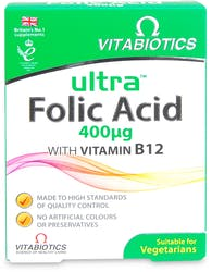 Vitabiotics Ultra Folic Acid 400 µg with Vitamin B12 60 Tablets
