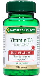 Nature's Bounty Vitamin D3 25µg (1000IU) 100 Tablets