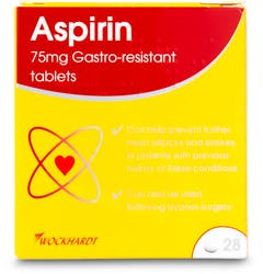 Wockhardt Aspirin 75mg Gastro-Resistant 28 Tablets