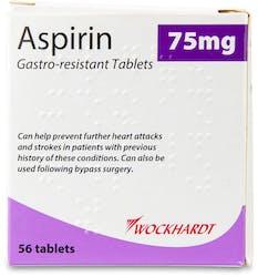 Wockhardt Aspirin 75mg Gastro-resistant 56 Tablets