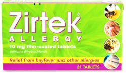 Zirtek Allergy Relief Tablets 21 Tablets